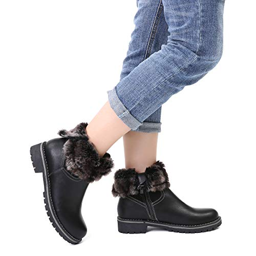 gracosy Ankle Boots Women's Winter Snow Boot Leather Fur Lined Warm Boots Side Zipper High Chelsea Shoes Buckle Low Flat Heel Short Boots Outdoor Anti Slip Casual Shoes Round Toe Shoes Black 7 UK