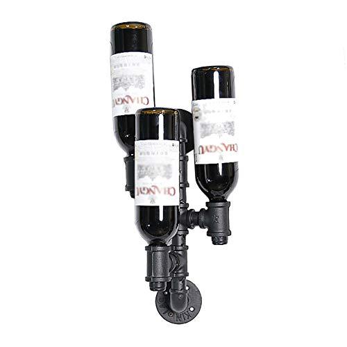 Couleur : NOIR CL Fer forgé noir/bronze Tenture murale 2 couleurs disponibles pour la plupart des vins 5 bouteilles de vin style européen/mode moderne wine rack Bar