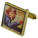 Select Gifts RAF Goldene Manschettenknöpfe personalisiert graviert box
