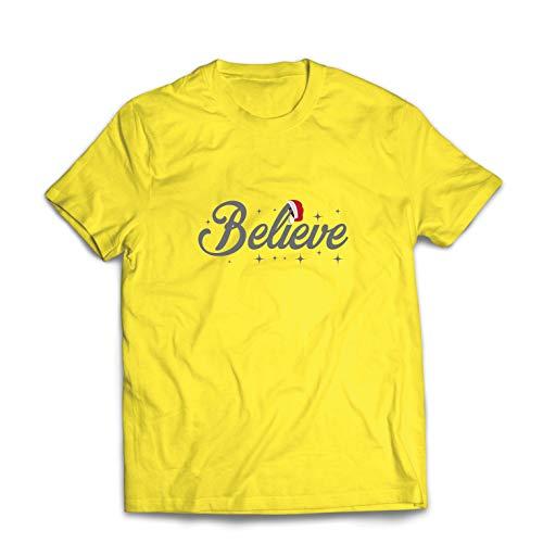 lepni.me Männer T-Shirt Glaube an das Wunder des Weihnachtsabends 2018 (Medium Gelb Mehrfarben)