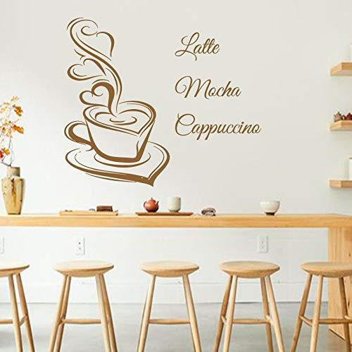 Kunst Design Kaffee Wandtattoos Latte Mokka Cappuccino Kaffeetasse mit Liebe Küche Interieur Wandbild Vinyl Aufkleber Cafe in Shop 58X46CM
