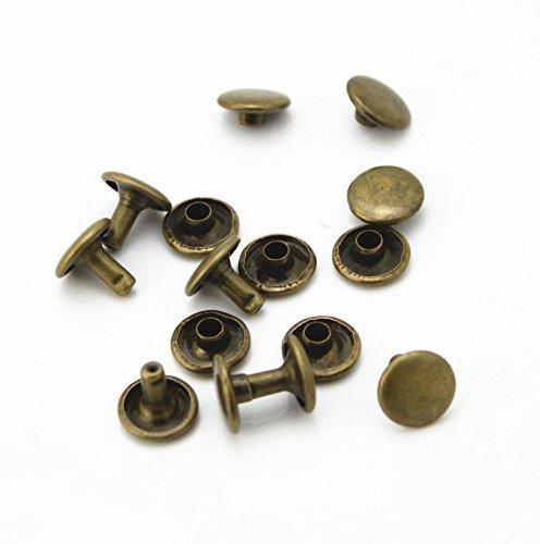 Trimming Shop 100 X 10mm Zwei Stücke Doppel Kappe Tubular Nieten für Leder Handwerk und Bekleidung Reparatur - Bronze - Bronze Doppel-post