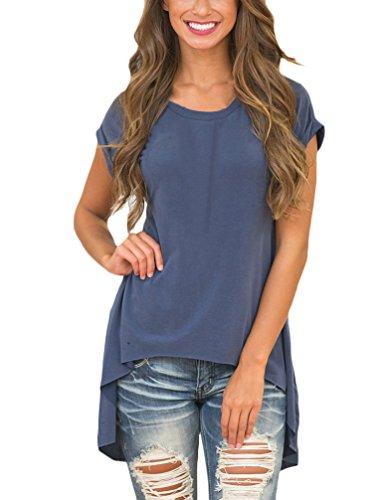 Damen Sommer T Shirt Kurzarm Rundkragen Irregular Classic Basic Elegant Geöffnete Gabel Rüschen Vorne Kurz Hinten Lang Blouses Tops Oberteile