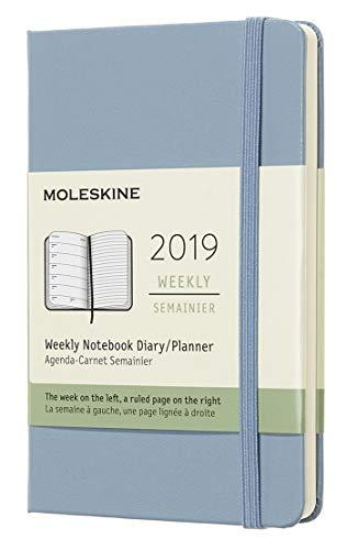 Moleskine 2019 Agenda Settimanale 12 Mesi, con Spazio per Note, Tascabile, Copertina Rigida, Blu Cenere