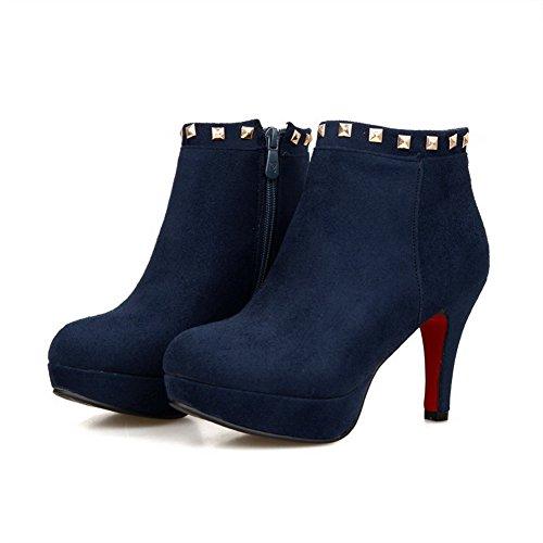 AllhqFashion Damen Rein Hoher Absatz Rund Zehe Blend-Materialien Reißverschluss Stiefel Blau
