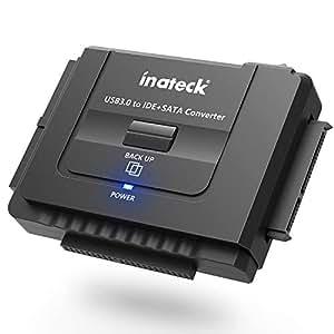 """Inateck Adaptateur USB 3.0 vers Dsique Dur IDE/SATA, Convertisseur pour 2.5""""/ 3.5"""" SATA HDD/SSD et IDE disques dur, un Secteur d'alimentation et un Câble usb 3.0 sont inclus"""