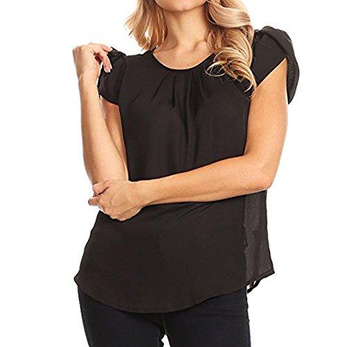 T-Shirt Damen,Sommer Kurze Ärmel Tops Einfarbig Basic Kurzarm Pullover T-Shirt Chiffon Kurzärmlige Bluse Oberteile Mit Rundhals Resplend (L, Schwarz)