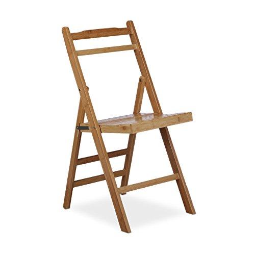 Relaxdays–bambú–silla plegable, silla de jardín plegable, HxWxD: ca 78x 37,5x 44cm), color marrón
