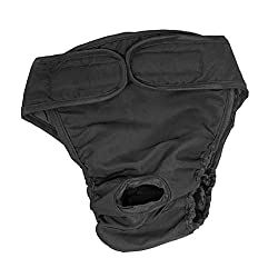 Tradico Reusable Female Dog Puppy Physical Pant Diaper Sanitary Underwear Black_L