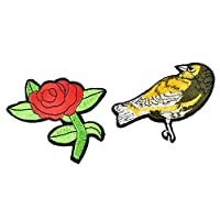 Souarts Rose and Bird Patch Cartoon Patch Brooch Pin Badges Set for Clothes Bags Backpacks Jackets