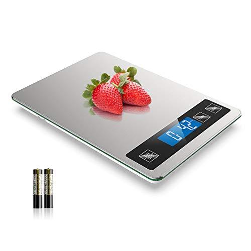 NBPOWER Küchenwaage, Gehärtetes Glas Digital Waage Küchen Edelstahl Digitale küchenwaage mit Großem Panel, 1 g Richtigkeit und 5 Einheiten (2g-10kg)