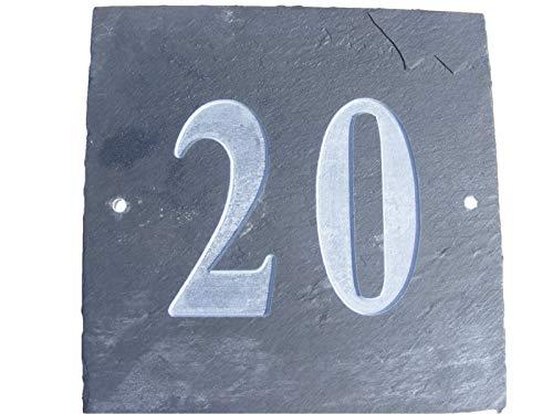 NOMBRE DE 20 NATUREL GRIS ARDOISE NUMÉRO DE MAISON 15 x 15 CM PROFONDEUR PLAQUE GRAVÉE DE SURFACE NATURELLES UNE CRÉMAILLÈRE CADEAU (150 x 150 MM (N ° 20)