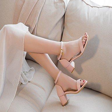 LvYuan Da donna Sandali Finta pelle PU (Poliuretano) Estate Autunno Footing Fibbia Quadrato Bianco Beige Rosa 2,5 - 4,5 cm White