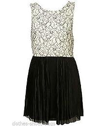 2c8857336c49 Topshop Ladies Stunning Elegant Lace Panel Open Back Pleated Dress Size 16  Free P&P