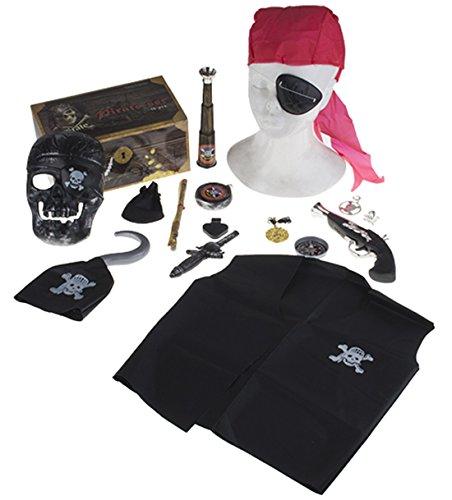 Confettery - Piraten Kostüm Zubehör Weste Bandana Augenklappe Pistole Maske Fernrohr Hakenhand, (Meer Hexe Kostüm)