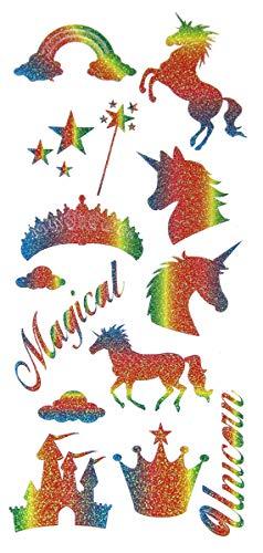 Eleganza Rainbow - Pegatinas de unicornio con purpurina, varios colores