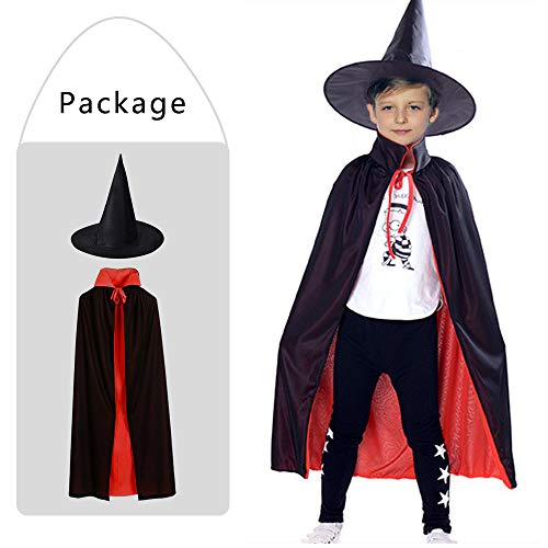 Cape Kostüm Vampir Kind - Kungfu Mall 1 PC schwarz Kinder Erwachsene Hexenhut und 1 PC Vampir Cape Dracula Teufel Mantel für Halloween Kostüm