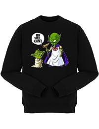 Pull Parodie auf Yoda von Star Wars und Kami-sama von Dragon Ball Z - Traduction allemand - Ton père je suis - Pull Noir - Haute Qualité