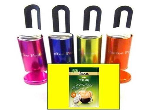 "4x Original für Senseo passend und anderer Fabrikate Paddosen \""James Premium® \"" mit Padlifter + 1 Packung Jacobs Verwöhnaroma Crema , Kaffeepads"