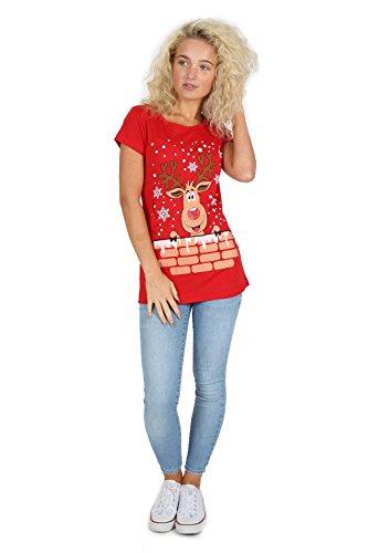 Be Jealous Womens Weihnachten Tshirt Damen Rudolph Rentier Schneeflocke  Weihnachten Flügelärmel Top Rentier Rot