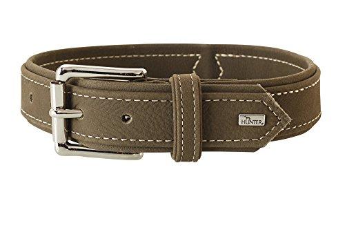 HUNTER HUNTING Halsband für Hunde, Leder, Nubuk, robust,weich, Größe 55, oliv -