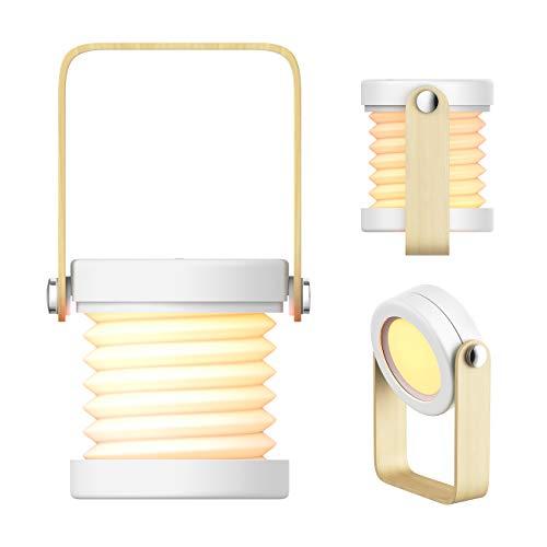 MojiDecor Tragbare Tischlampe LED Nachtlicht Laterne Nachttischlampe mit Holz-Handgriff, 3 Helligkeitsstufen, Touch-Bedienung, klappbare Tischleuchte Leselampe für Schlafzimmer Wohnzimmer Camping