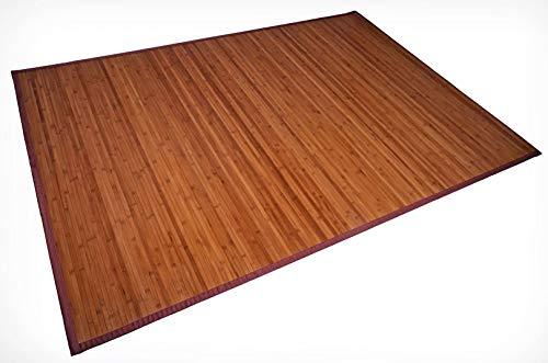 Spetebo Bambus Teppich 230 x 160 cm - 17mm Bambusbreite - Wohnzimmerteppich Badezimmerteppich