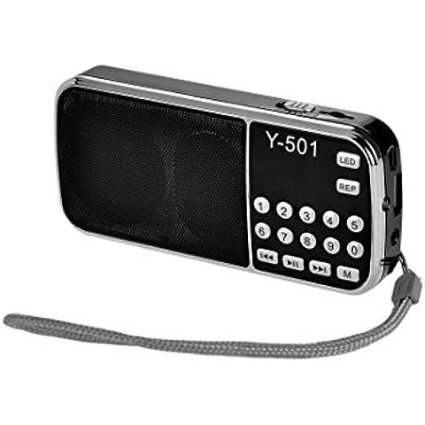 eJiasu Puerto de disco Soporte de MP3 de música tarjeta del TF portátil USB Mini Digital FM Radio / USB / Pantalla Pantalla LED / linterna / la batería recargable / Salida de auriculares / cordón para PC iPod iPhone y otros teléfonos Android