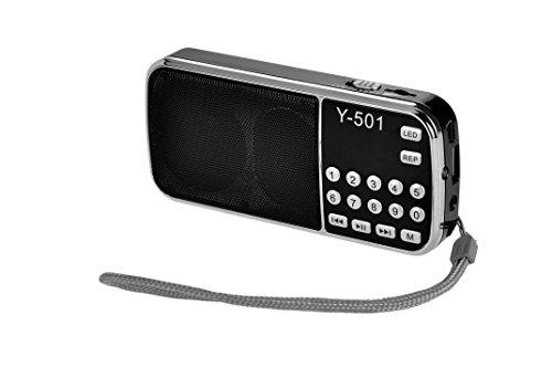 eJiasu Tragbare Mini Digital USB FM Radio Unterstützungs-MP3-Musik-Spieler TF-Karte / USB Disk mit LED-Screen-Display / Taschenlampe für PC iPod iPhone und andere Android-Handys (Schwarz)