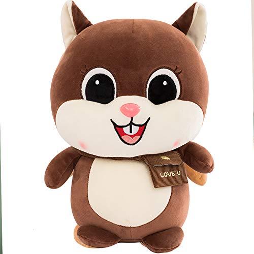 djxgnbm Plüschtiere, Puppen, Zeichentrickfiguren, süßes Haustier Eichhörnchen Puppe Plüschtier süßes weiches Eichhörnchen Kissen Kind Geschenk Freundin 25cm -
