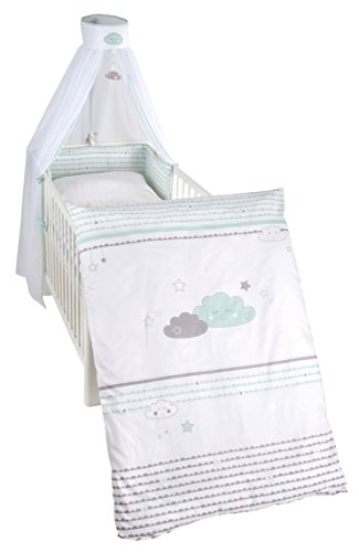 roba Kinder-Bettgarnitur 4-tlg, Babybett-Ausstattung 'Happy Cloud', Bettset 4-teilig: Bettwäsche 100x135 (Decke & Kissen), Nestchen, Himmel