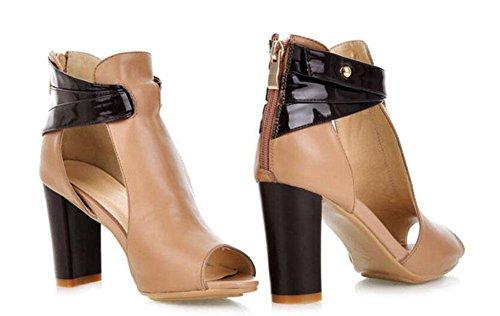 Frauen Peep Toe Knöchelriemen Pump New Stitching Leder High Heels Sandalen apricot