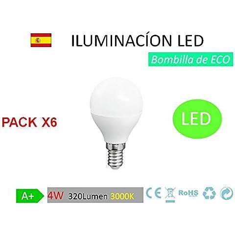 Pack 6 Bombillas LED G45 globo, 4W,(equivalente a 40W), casquillo E14, 320 lumen, luz calida 3000K(no regulable) [Clase de eficiencia energética