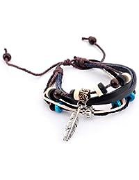 Lureme® tibetano grano del encanto de la vendimia de plumas metal multi hilo de cuero ajustable pulsera (06002642)