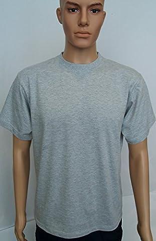 Uni Classique T-shirt Haut 100% Coton Décontracté Loisirs Sports Travail UC301 - Gris Chiné, L