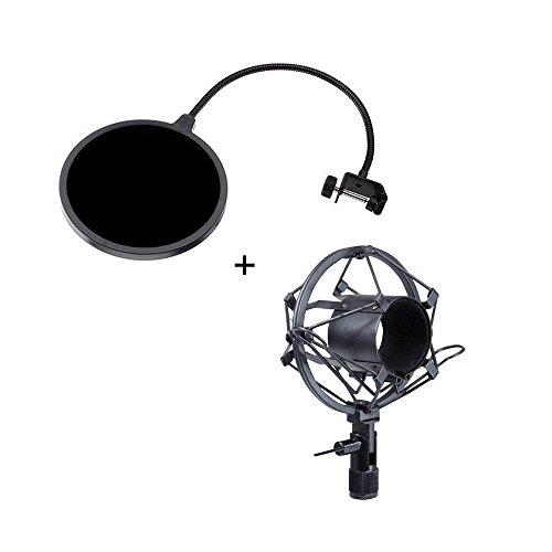 Wanway Anti-Vibrazione Shock Mount + Filtro Anti-pop,Shock Mount Morsetto Antivibrante Alto Isolamento,Antivento Filtro Anti-pop Mask Shield Schermo Protettivo