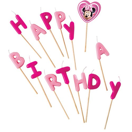 Disney Minnie Maus Kerzen Happy Birthday von 14 Stück - Maus-party Dekorationen Minnie