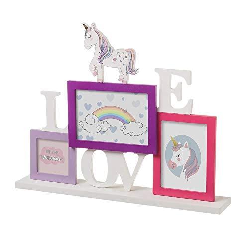 Portafotos Unicornio De Mdf Y Cristal 3 Marcos Multicolor 42x7x33 cm