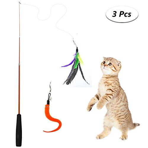 Yokunat Katze Spielen Sticks Interaktive Kätzchen Spielzeug Natürliche Feder Spielzeug Glocke für Haustier Katze -