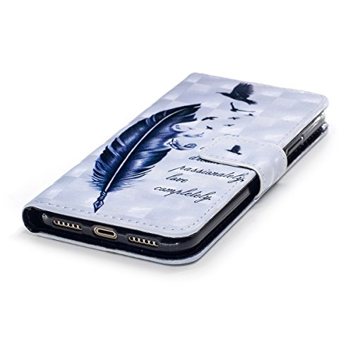 iPhone X Custodia, iPhone X Cover, JAWSEU iPhone X Custodia Pelle Portafoglio Lusso 3D Modello Design Creativo PU Leather Wallet Flip Cover Custodia per iPhone X Copertura con Morbida Gel Silicone Cas Piuma Uccello