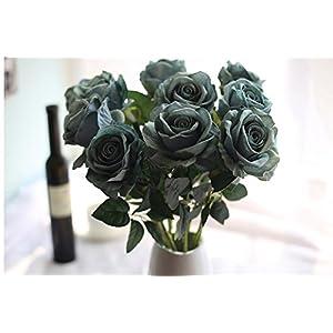 Longra Wohnaccessoires & Deko Kunstblumen Künstliche 5 Stück Künstliche Fake Rosen Flanell Blume Bridal Bouquet Hochzeit Party Home Decor Blume (F)