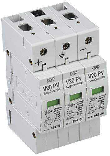 OBO Bettermann 5094608 Überspannungsschutz V20, 1000V DC V20 Überspannungsableiter Typ 2 für PV-Anlagen