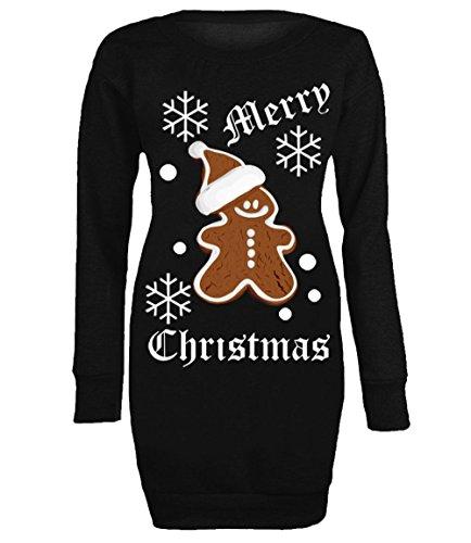 Women's Christmas Ginger Bread Man Ladies Long Sweatshirt Xmas Mini Dress Top Jumper (Medium-Large) Black