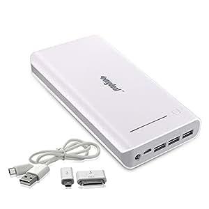 Sunydeal 30000mAh Powerbank 3 USB 1/2.1/2.1A Ausgang PowerBank Pack Handy Ladegerät Externer Akku für Samsung iPhone iPad Smartphone 5V Tablets GPS Bluetooth Lautsprecher Aufladen von 3 Geräten Gleichzeitig Möglich - Farbe: Weiße