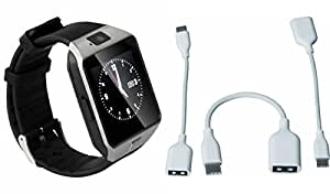 Smart Watch & OTG Cable for XOLO Q900S PLUS(OTG Cable,Mobile Connecting Cable & Bluetooth DZ09 Smart Watch Wrist Watch Phone with Camera & SIM Card Support Hot Fashion New Arrival Best Selling Premium Quality Lowest Price with Apps like Facebook, Whatsapp, Twitter, Sports, Health, Pedometer, Sedentary Remind & Sleep Monitoring, Better Display, Loud Speaker, Microphone, Touch Screen, Multi-Language, Compatible with Android iOS Mobile Tablet-Silver Color)