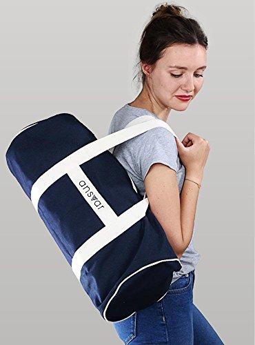 Sporttasche ansvar III aus Bio Baumwoll Canvas - Hochwertige Damen & Herren Sporttasche, Duffle Bag aus 100% nachhaltigen Materialien - mit GOTS & Fairtrade Zertifizierung, Farbe:blau - 5