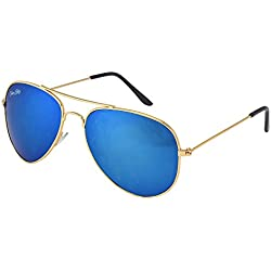 Silver Kartz Dark Icy Blue Mercury Imperial Aviator Sunglasses (wc108)
