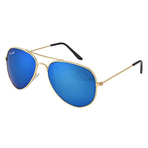 Silver Kartz Dark Icy Blue Mercury Imperial Aviator Sunglasses (wc108)