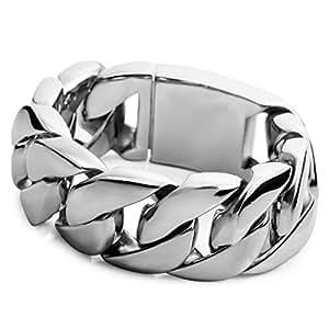 MunkiMix Grand Lourd Acier Inoxydable Bracelet Lien Poignet Ton d'Argent ( Poids : 303g ) Homme