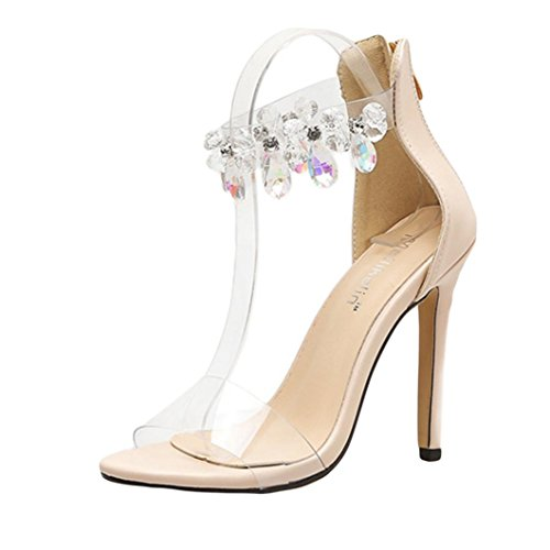 Muium Women Fashion Sandals, Ladies Sexy Rhinestone High Heeled Sandals Transparent Open Toed Boot Shoes